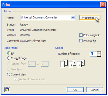 "Select ""Universal Document Converter"" from the printers list and press ""Properties"" button"