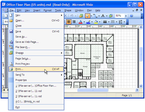 "Open the drawing in Microsoft Visio and select ""File->Print"" in the main menu"